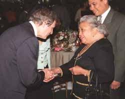 Neil Rudenstine with Mrs. Thurgood Marshall