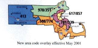 area code map of Massachusetts