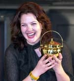 Drew Barrymore with Hasty Pudding Pot