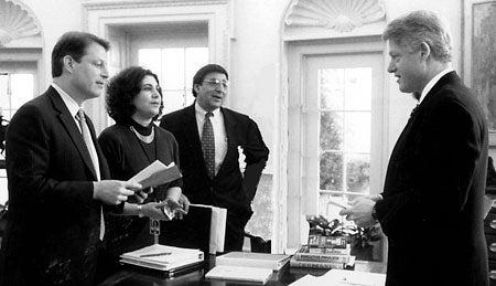 Al Gore, Elaine Kamarck, Leon Panetta and President Clinton