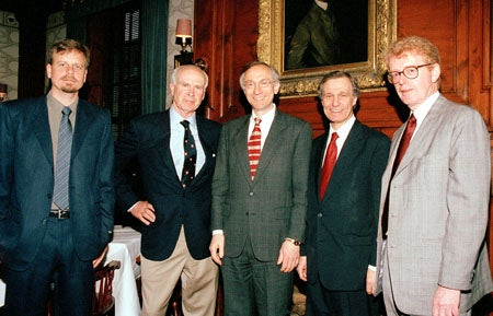 Chris Nielsen, Gilbert Butler Jr., Harvey V. Fineberg, Neil L. Rudenstine and Michael B. McElroy