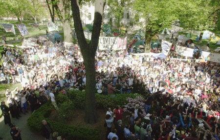 Protesters in Harvard Yard