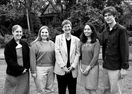 Drew Gilpin Faust, Megan Frederickson, Alison Egan, Andrea Kurtz and John Maier