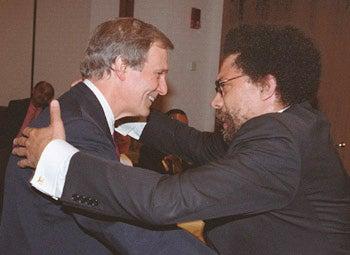 Neil Rudenstine with Cornel West