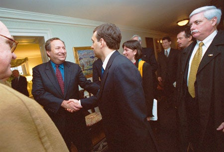 Viktor Orban with Lawrence Summers