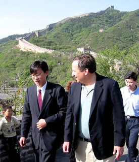 Harvard president Lawrence H. Summers receiving tour of Great Wall of China May 12 outside of Beijing.