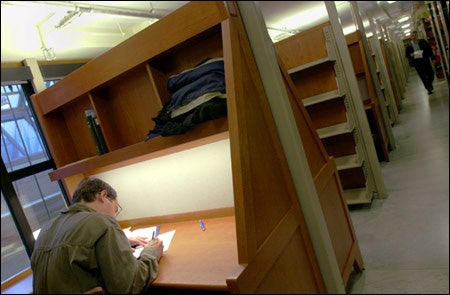 Studying in the new carrels