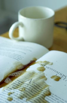 Coffee-stained book