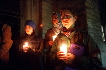 Divinity School students in vigil