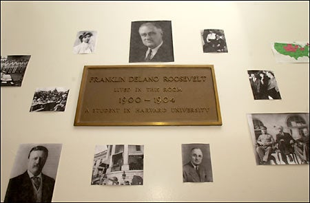 Plaque in FDR's old dorm room