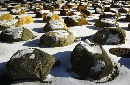 Snow-capped rocks in the garden outside the Science Center