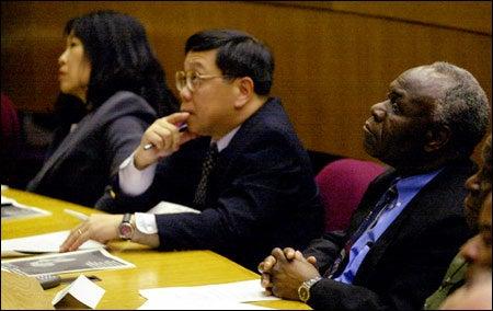 Professors Phyllis Jean Kanki and Tun-Hou-Lee with Kenneth David Kaunda
