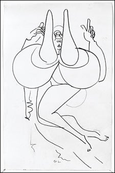 Exaggerated female nude drawing by Gaston Lachaise