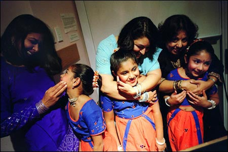 Young dancers prepare to perform