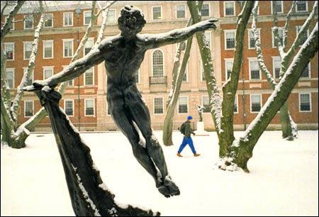Statue in Winthrop House courtyard