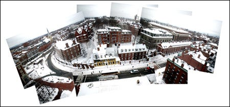 Birdseye photo montage of Square in the snow