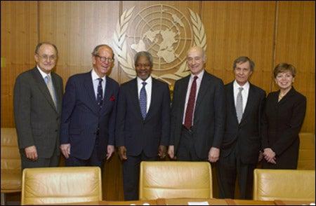 John Ruggie, Roy Goodman, Kofi Annan, Joseph S. Nye Jr., and Neil Rudenstine