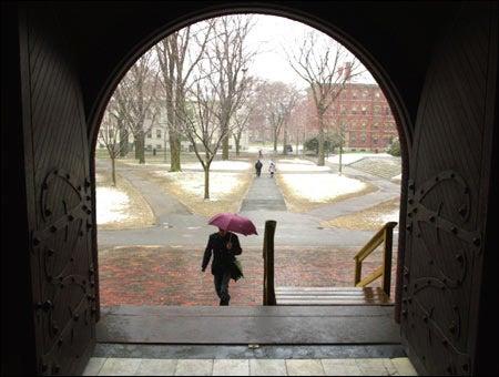 Photo of campus in the rain