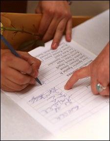Signing diploma