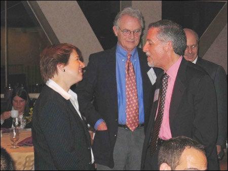 HLS Dean Elena Kagan, Jack Wofford LL.B. '62, Hon. Michael Sondberg J.D. '71