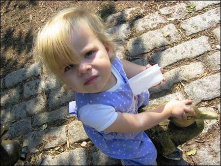 Toddler in Public Garden
