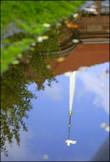 Reflection of Memorial Church steeple