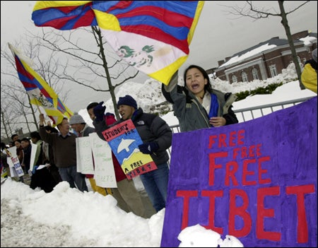 Protesters with Tibetan flag