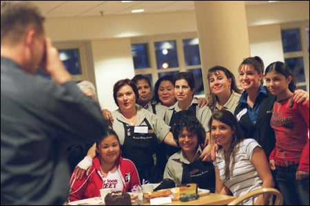 Guerrero with students, daughters & coworkers