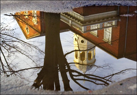 Harvard Hall in reflection
