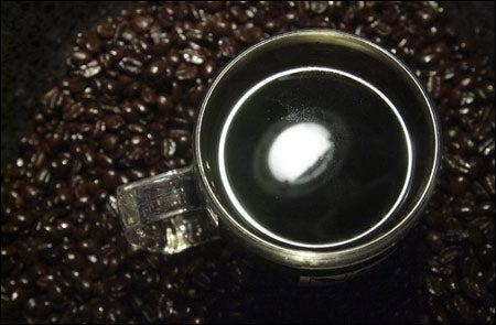 steaming mug of coffee