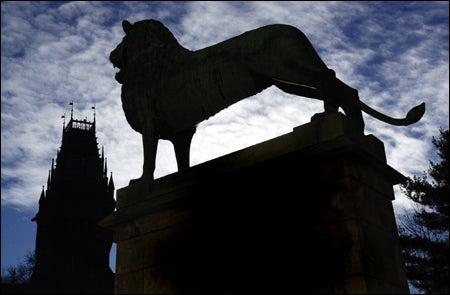 Memorial Hall, lion statue