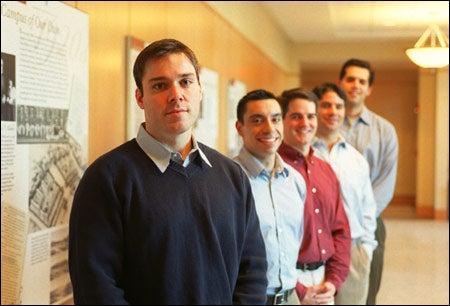Dan Thibeault (from left), Mark Palmenter '00, Ken Ebbitt, Jeff Wanic, and Andrew Solomon
