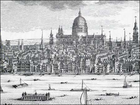 view of London with St Pauls cathedral prominent