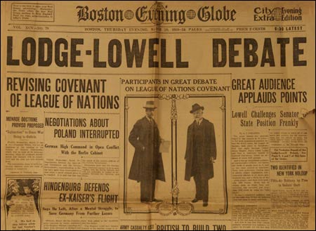 League coverage, front page of Globe, March 20, 1919