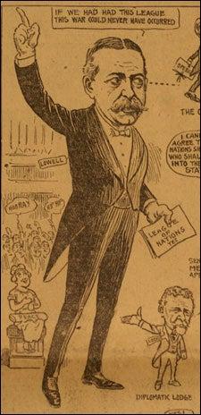 Newspaper cartoon of Lowell