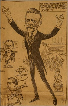 Newspaper cartoon of Lodge