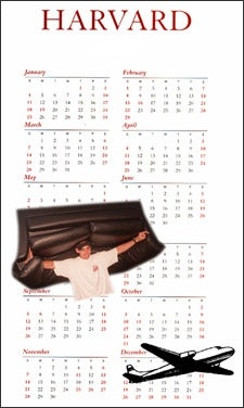 illustration of calendar with airplane and student carrying a sofa