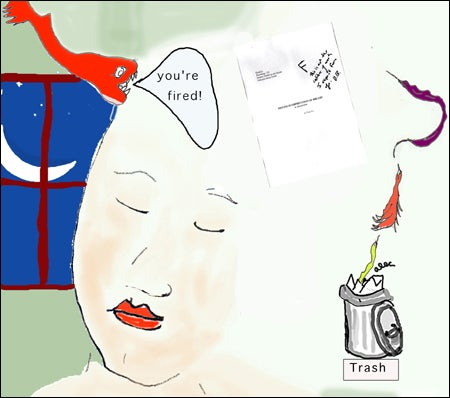 Illustration of a woman dreaming she's being fired by a fish