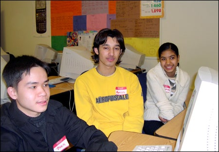 Brighton High students Thien Phan (from left), Marcos Posada, and Columbia Nunez