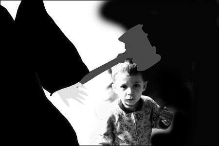 photo illustration of judge and toddler