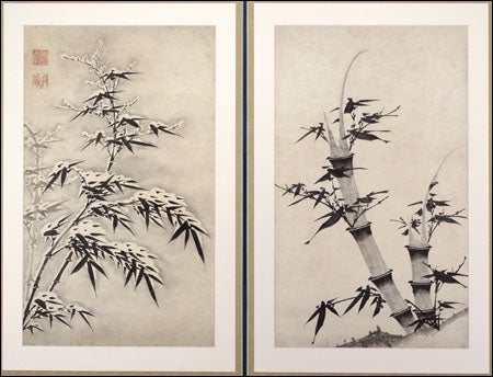 two panels of a folding screen depicting bamboo in winter