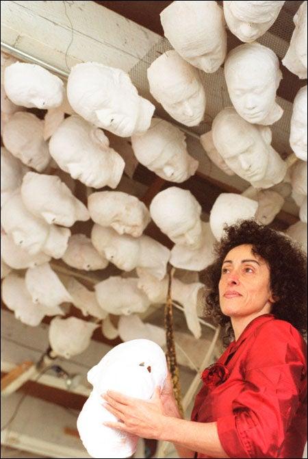 Sholeh Regna with sculptures