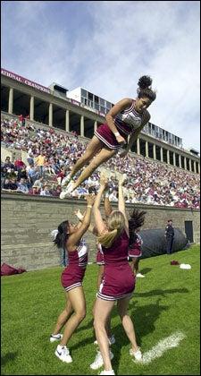 Cheerleader Stephanie Wilka '05 aloft