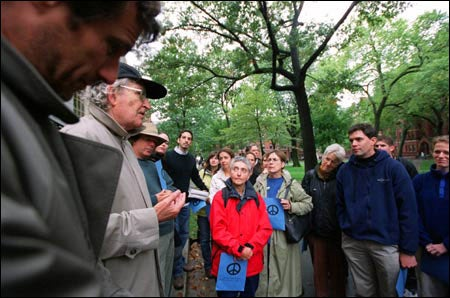 Noam Chomsky, peace demonstrators in Harvard Yard