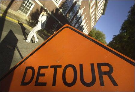 detour sign, pedestrian