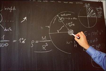 Sasselov's work on the blackboard