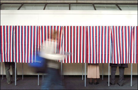 Voters at the polls in Gund Hall