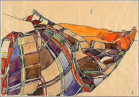 detail from Egon Schiele watercolor