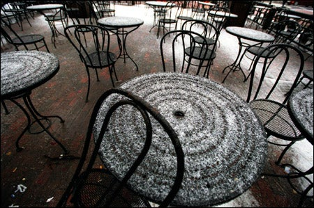 wrought-iron tables in the snow