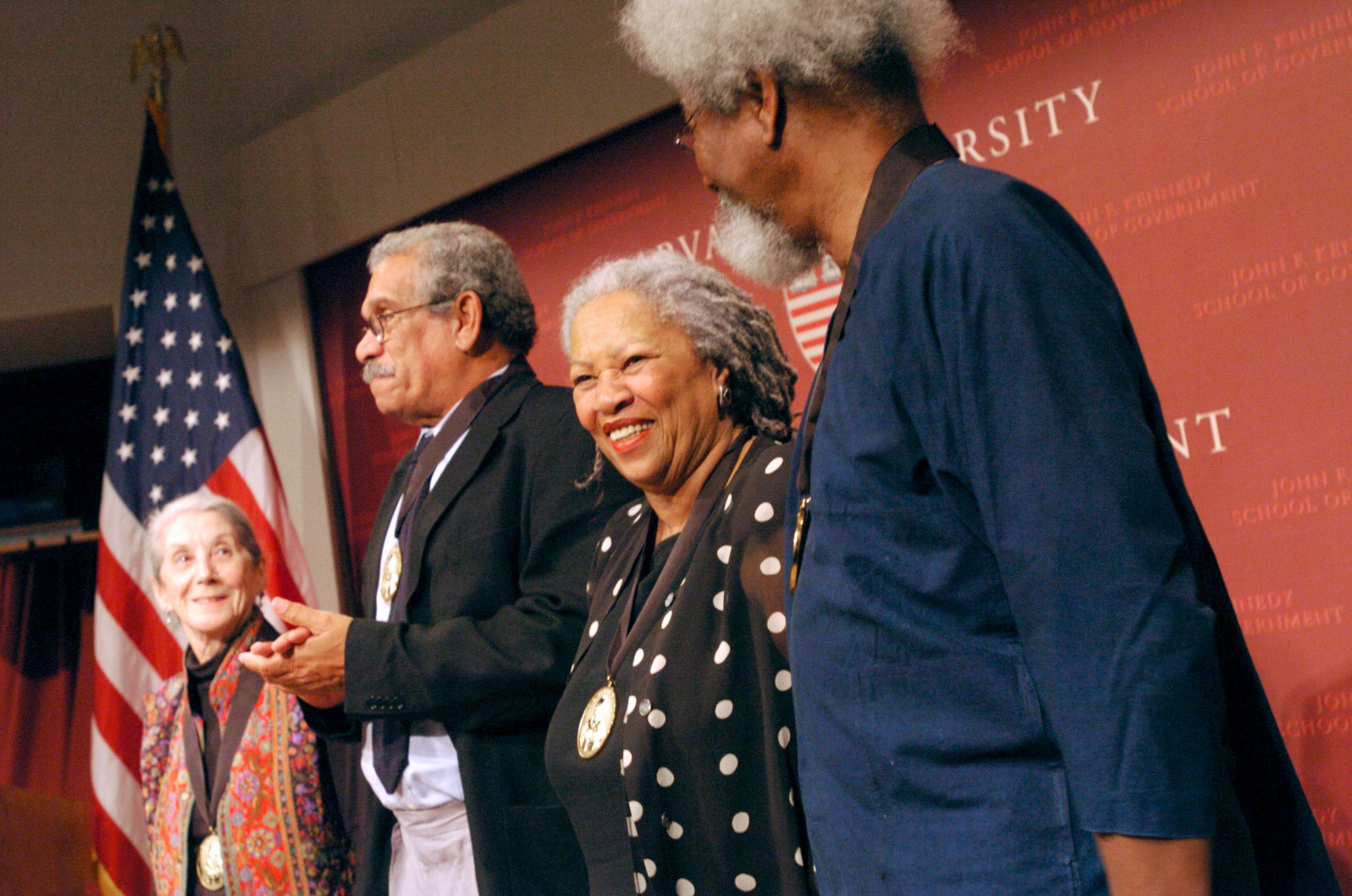 Nobel Prize winners in literature (from left) Nadine Gordimer, Derek Walcott, and Toni Morrison came together to celebrate the birthday of their peer, Wole Soyinka (right).